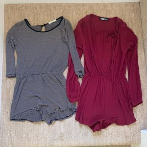 Lot of 2 long sleeve rompers
